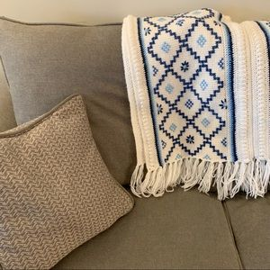 Ivory & Blue Crocheted Throw Blanket with Fringe